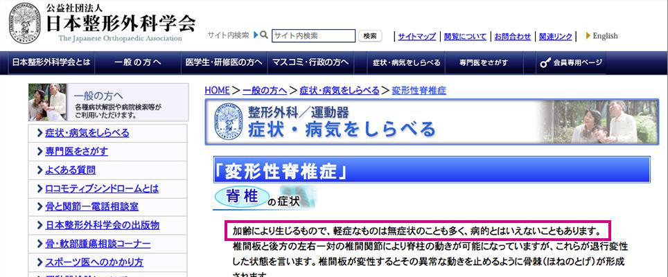 1.日本整形医科学会は「脊柱管狭窄症」でも無症状の人が多いと発表